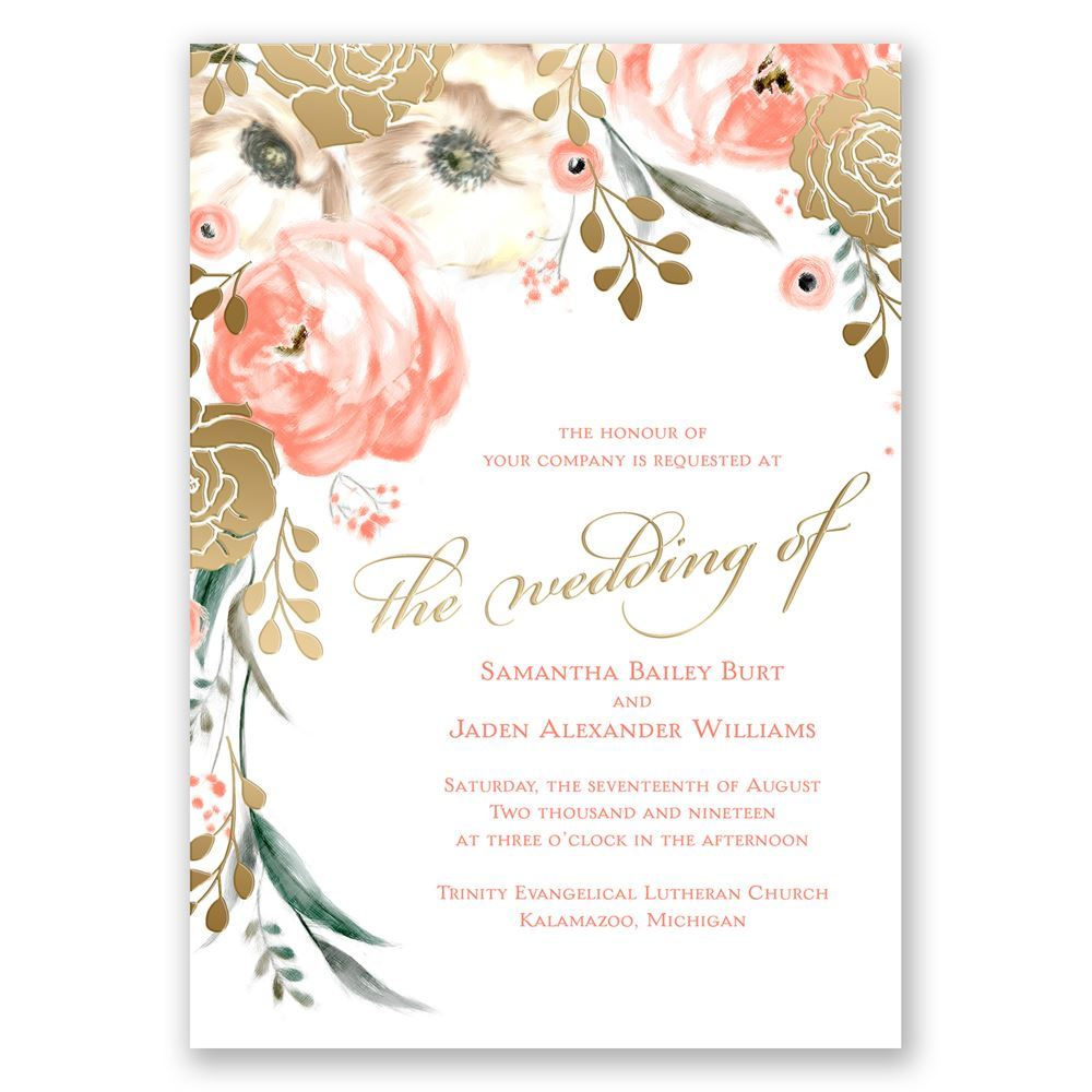 Wedding Invitations Rose: Whimsical Rose Gold Foil Invitations