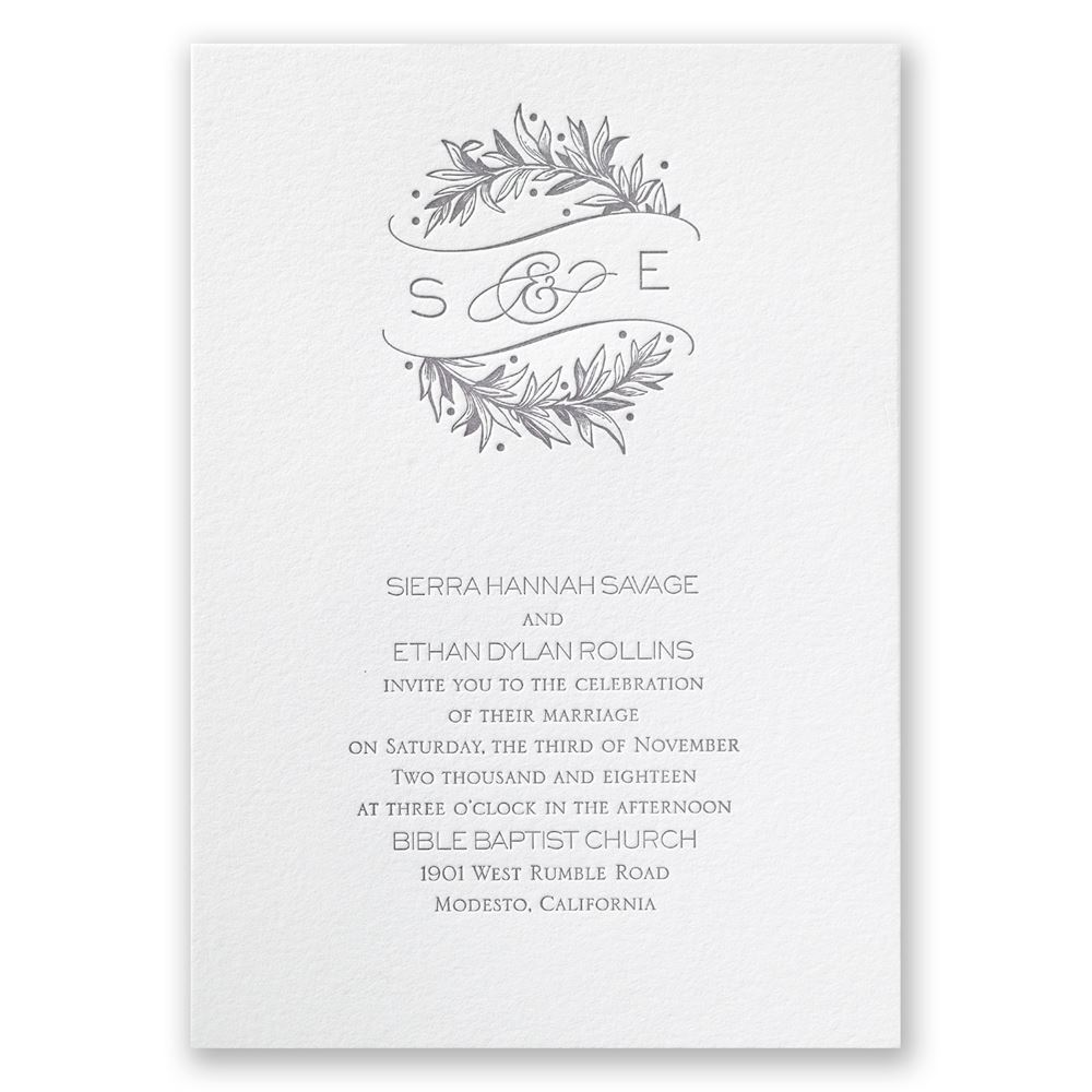 Natural Crest Letterpress Invitation | Invitations By Dawn
