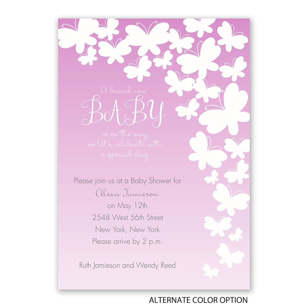 Butterfly Silhouettes Baby Shower Invitation   Invitations By Dawn
