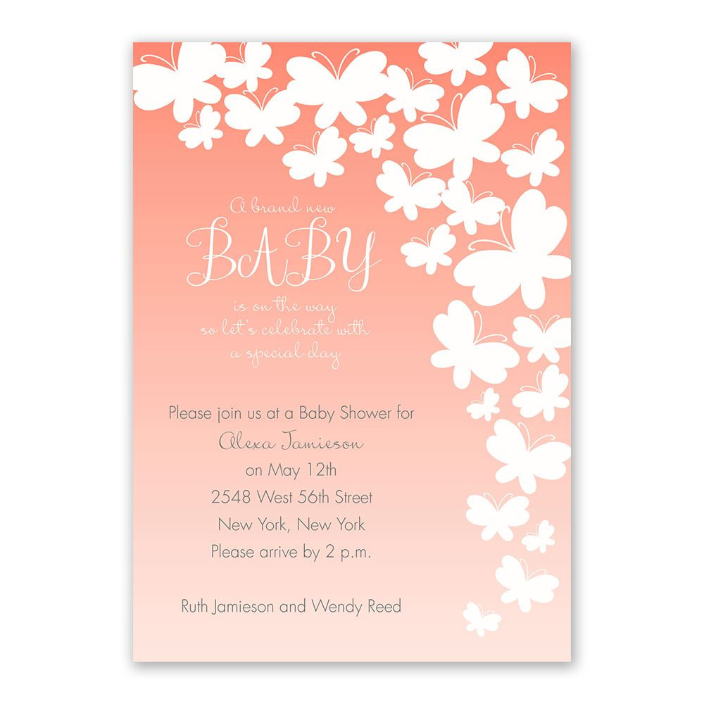 Butterfly Silhouettes Baby Shower Invitation | Invitations By Dawn