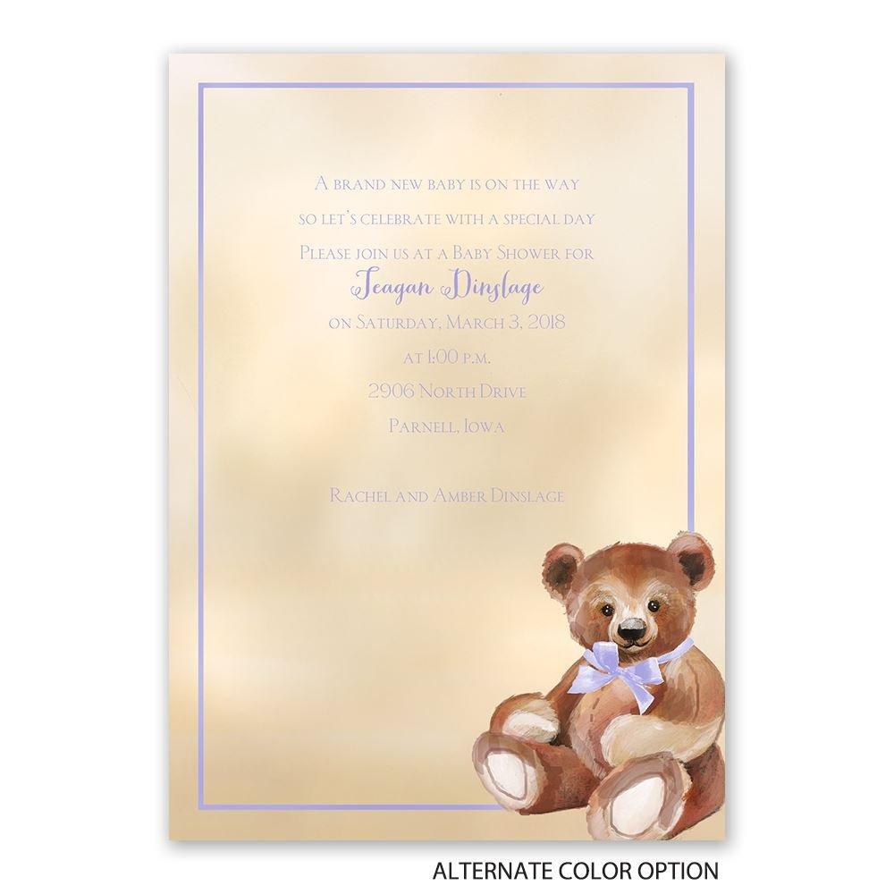teddy bear classic baby shower invitation invitations by dawn