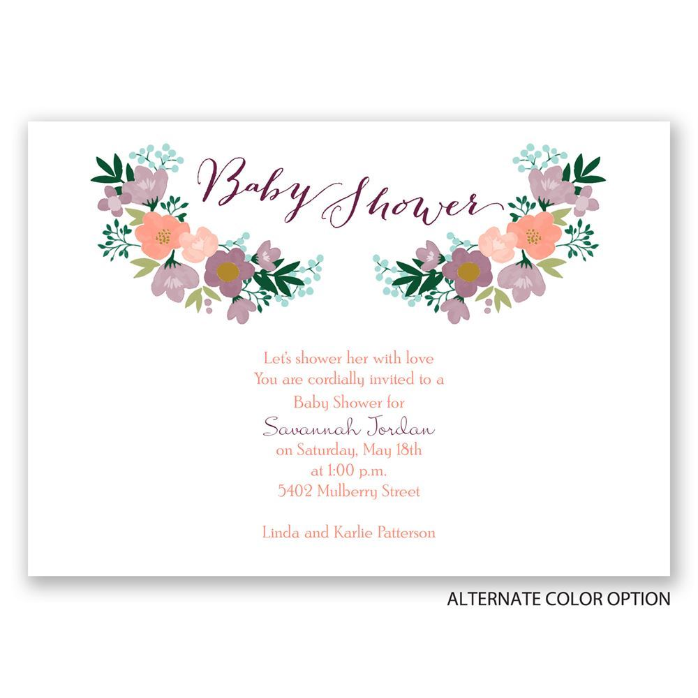Delicate Flowers Baby Shower Invitation | Invitations By Dawn