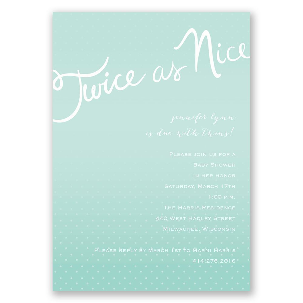 Twice As Fun   Twins Baby Shower Invitation