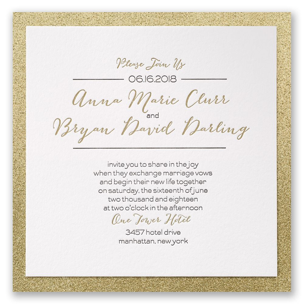 Bold & Gold Letterpress Invitation