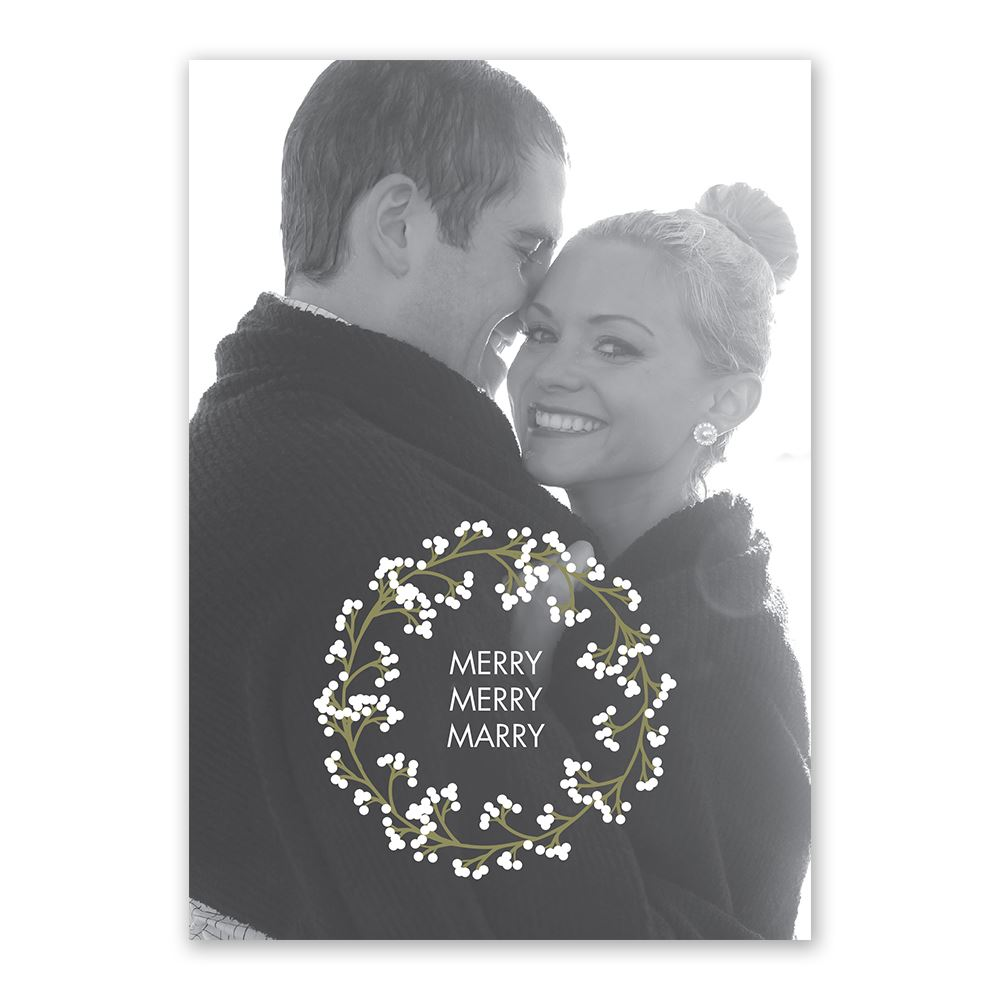 Wedding Wreath Holiday Card Save the Date | Invitations By Dawn