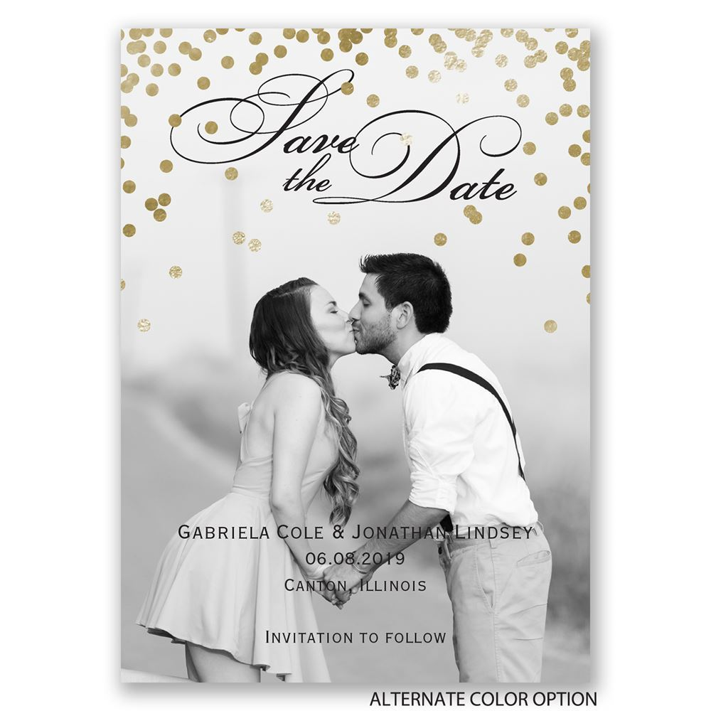 Gold Polka Dots Save the Date Magnet | Invitations By Dawn