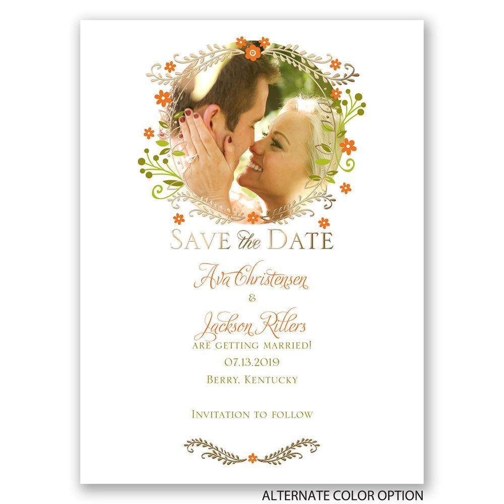 Weaving Flowers Foil Save The Date Card