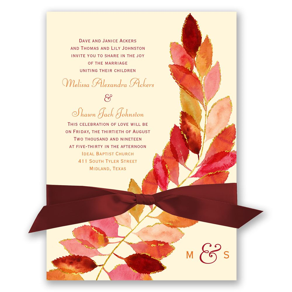 autumn and fall wedding invitations feathered fall invitation - Fall Themed Wedding Invitations