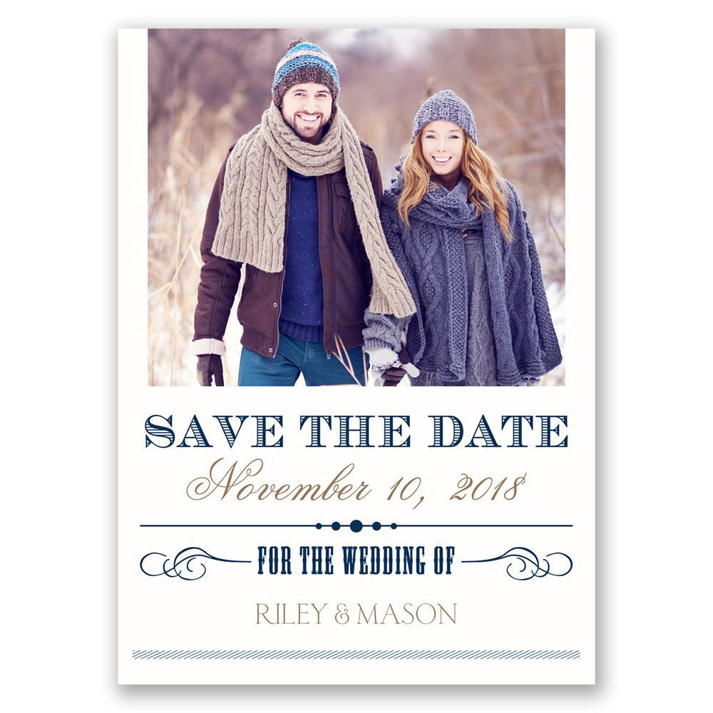 elegant details save the date postcard