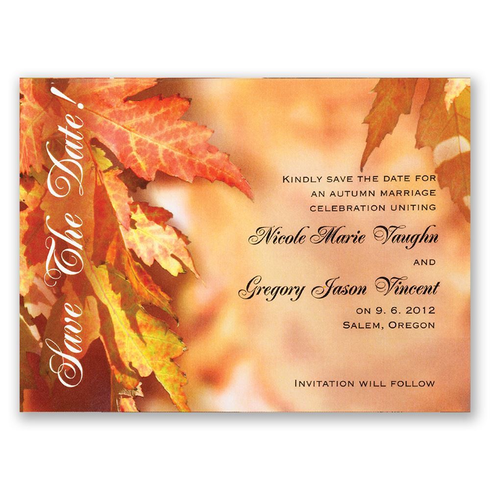 leaves background save the date invitations by dawn