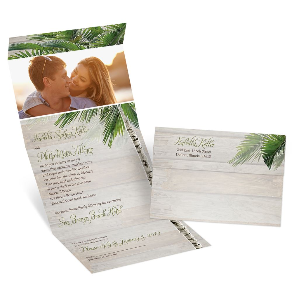 When To Send Out Wedding Invitations For Destination Wedding: Palm Tree Paradise Seal And Send Invitation
