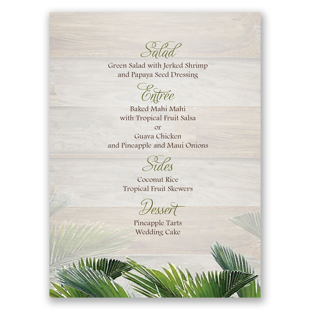 Palm Tree Paradise Menu Card | Invitations By Dawn