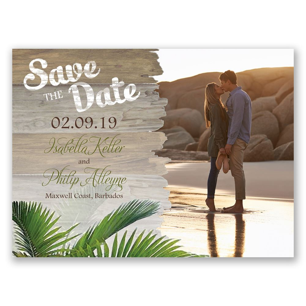 palm tree paradise save the date card invitations by dawn