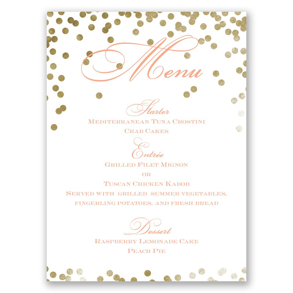 Gold Polka Dots Menu Card Invitations By Dawn
