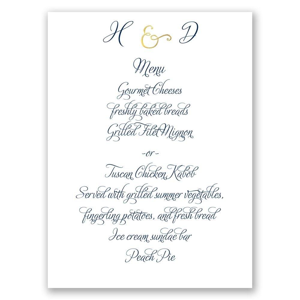 Perfect Pair Foil Menu Card | Invitations By Dawn