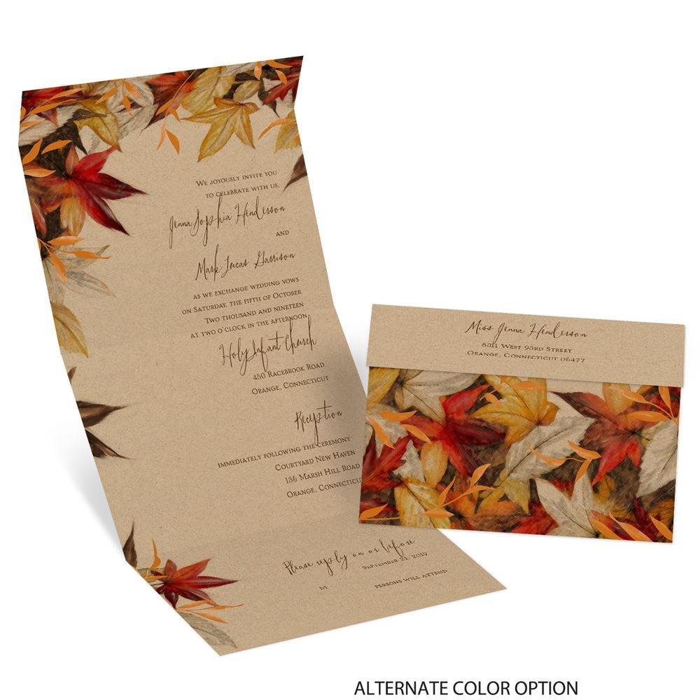 Fall Color Wedding Invitations: Autumn Maple Seal And Send Invitation