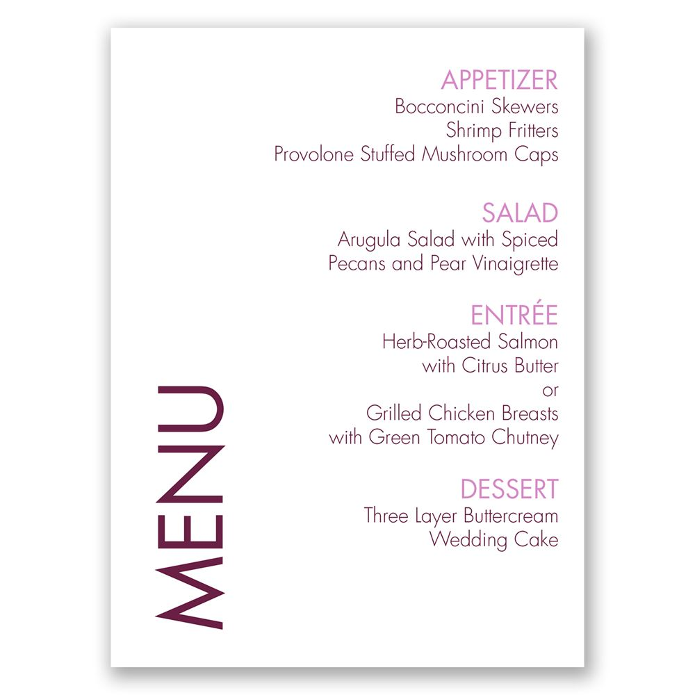Simple Wedding Reception Food: Sweet And Simple Menu Card