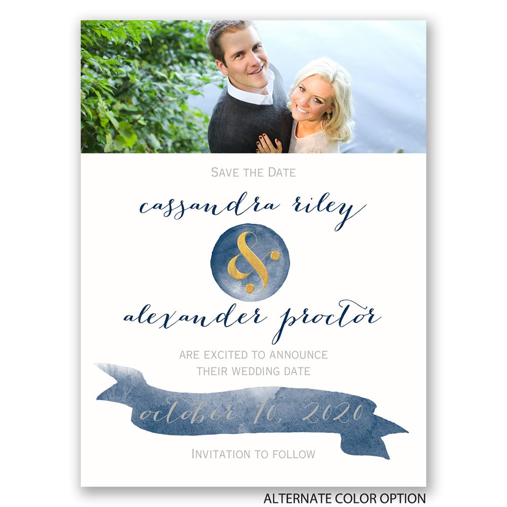 modern glow foil save the date card invitations by