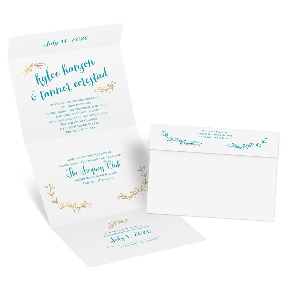 Cheap Send And Seal Wedding Invitations: Naturally Heartfelt Foil Seal And Send Invitation