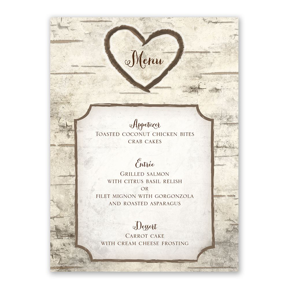 Birch Tree Carvings Menu Card Invitations By Dawn