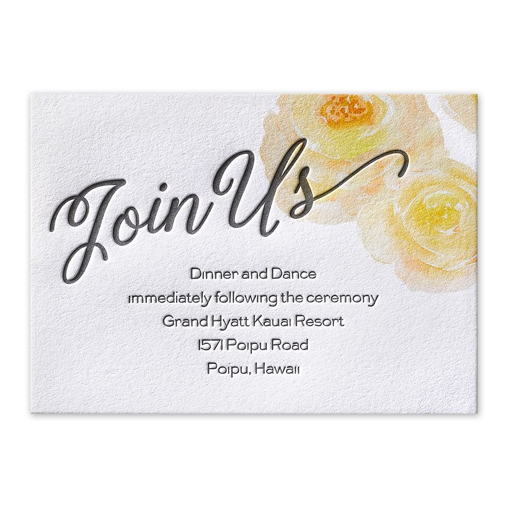 Watercolor blossoms letterpress reception card invitations by dawn watercolor blossoms corabell letterpress reception card reheart Image collections
