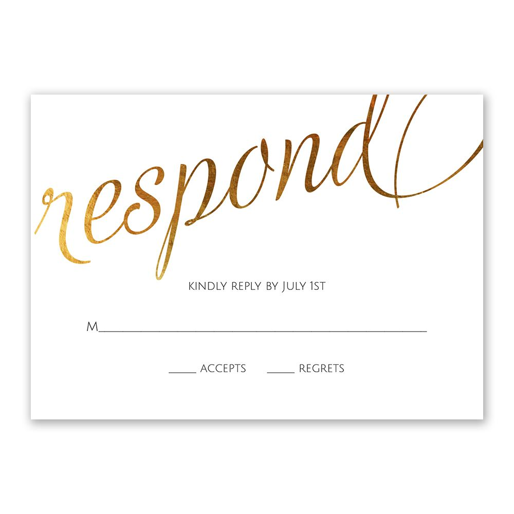 Old style script foil response card invitations by dawn old style script gold foil response card stopboris Choice Image