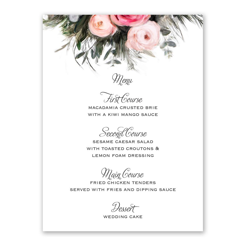 Ethereal garden menu card invitations by dawn for Wedding menu cards templates for free