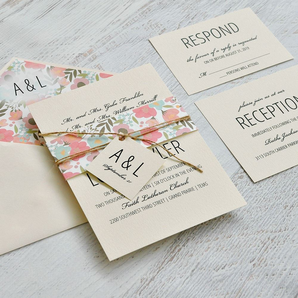 pretty floral envelope liner invitations by dawn