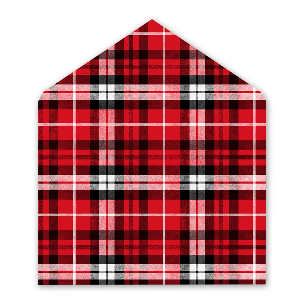 Red Plaid Designer Envelope Liner   Invitations By Dawn