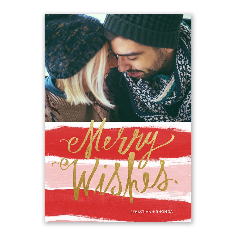 Candy Cane Wishes Foil Holiday Card   Invitations By Dawn
