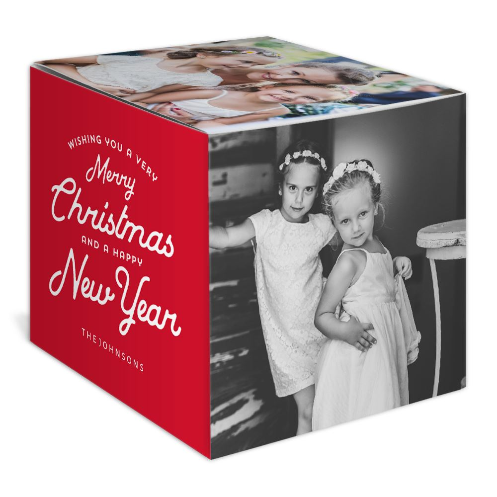 Merry Christmas Holiday Photo Cube   Invitations By Dawn