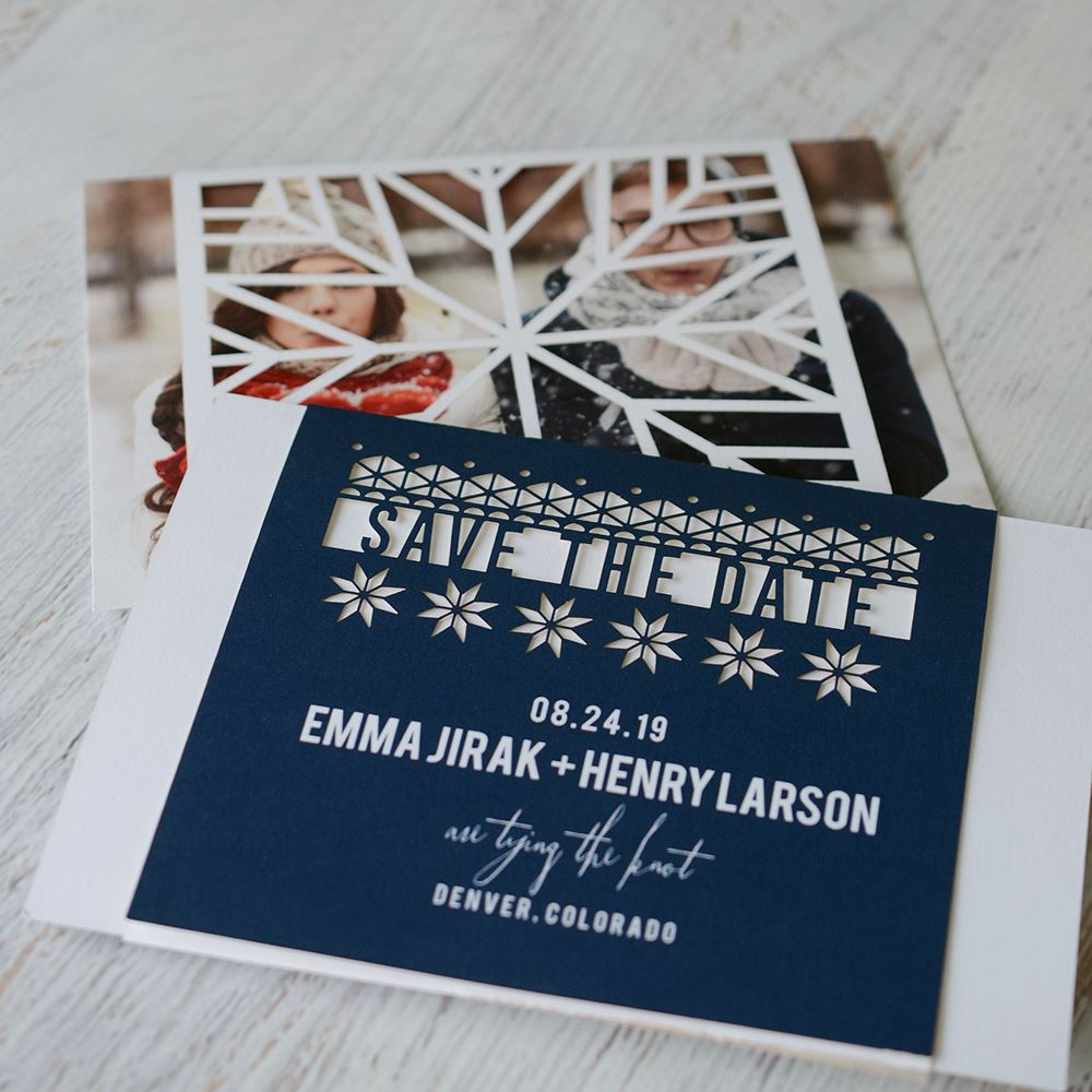 playful winter laser cut holiday save the date card invitations by