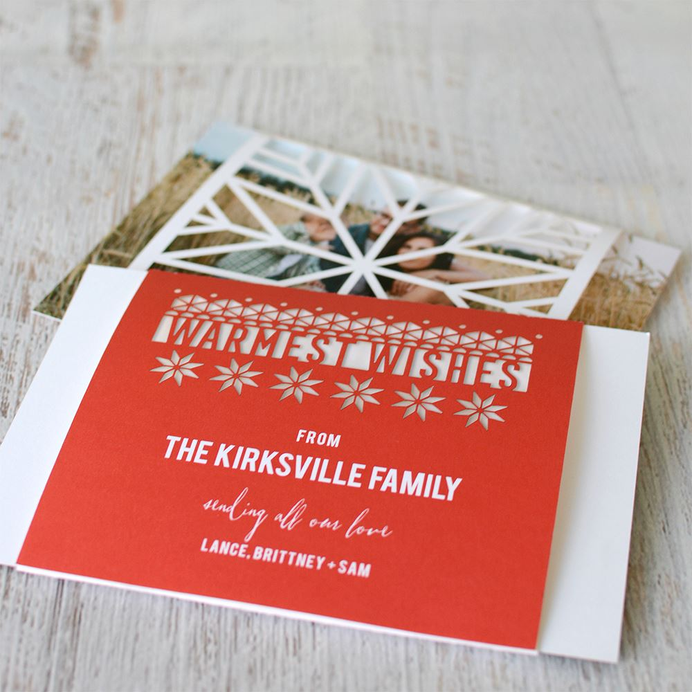 Playful Winter Laser Cut Holiday Card   Invitations By Dawn