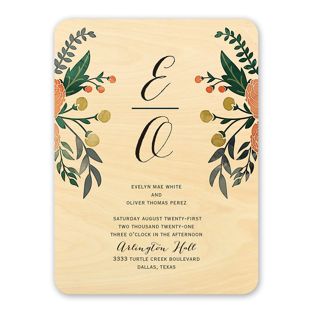 floral fancy real wood invitation invitations by dawn