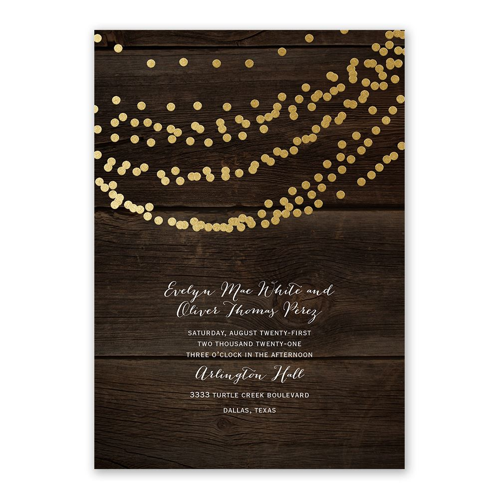 Easily personalized and shipped in a snap! Find a variety of beautiful wedding invitations at Invitations by Dawn like this Rustic Beauty design with real foil.