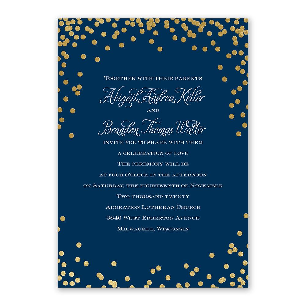 polka dot glow foil invitation