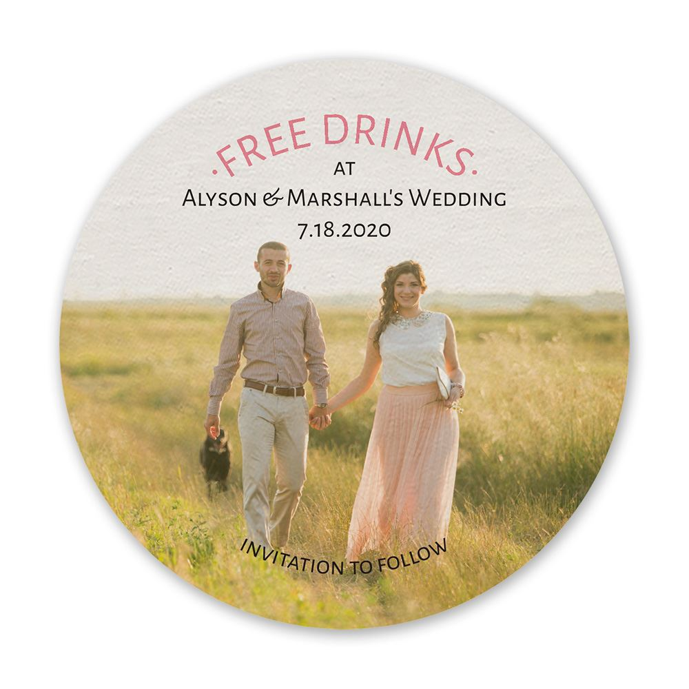 free drinks save the date coaster invitations by dawn