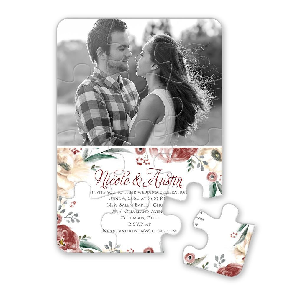 Poppies and Roses Puzzle Invitation   Invitations By Dawn