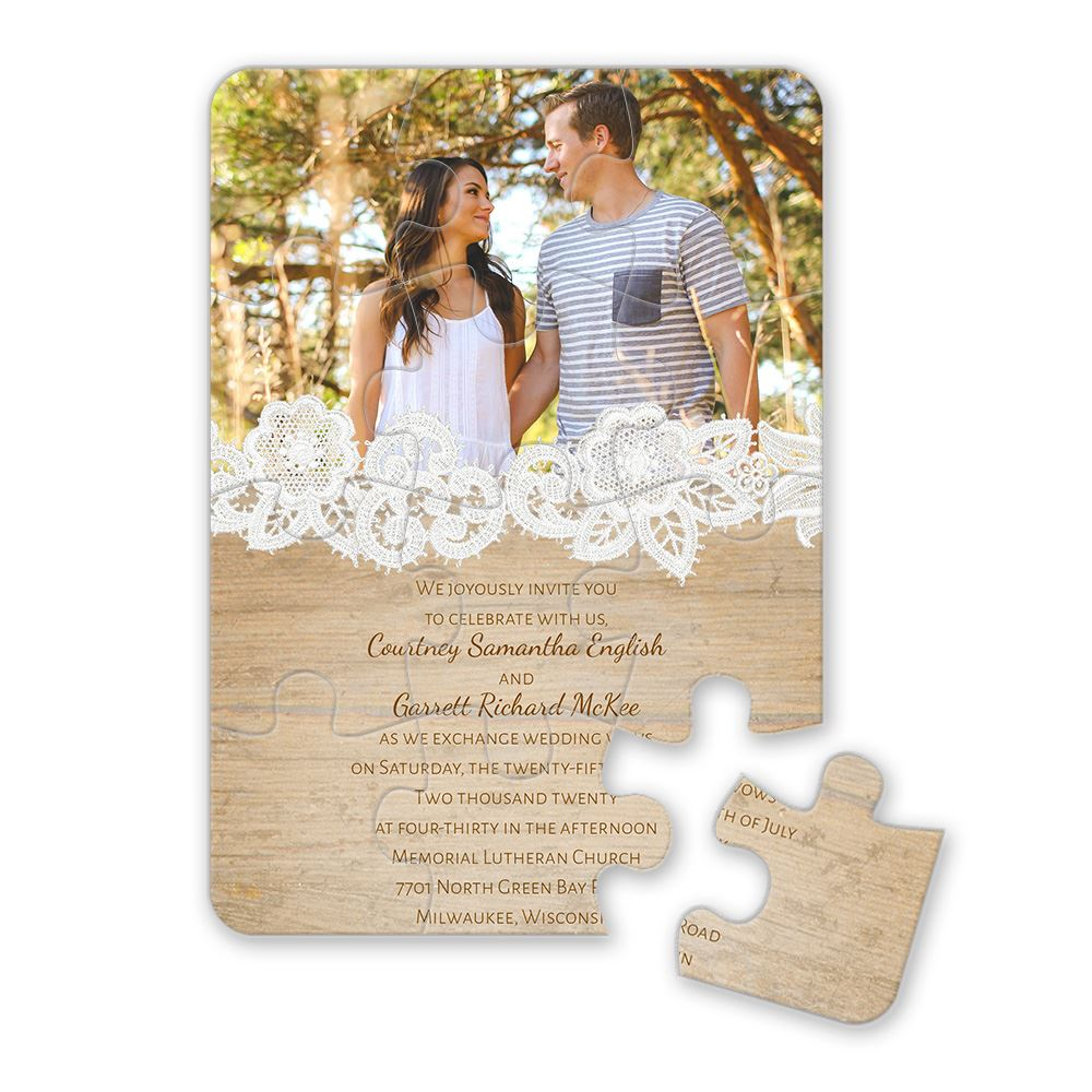 wood and lace puzzle invitation - Wood Wedding Invitations