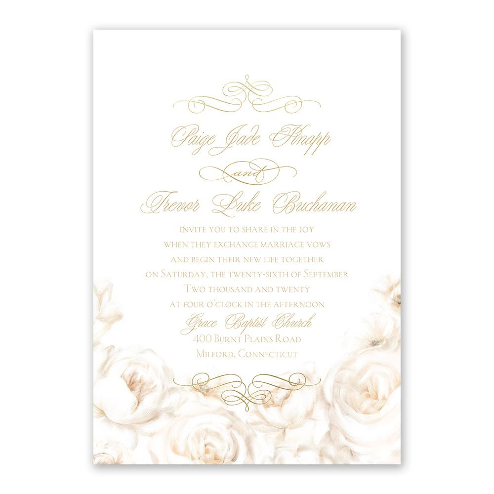 White Roses Foil Invitation Invitations By Dawn
