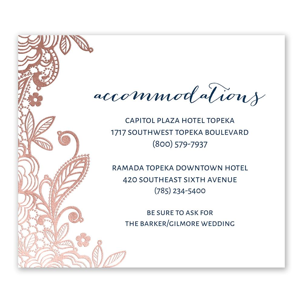 Glamorous Lace Foil Information Card
