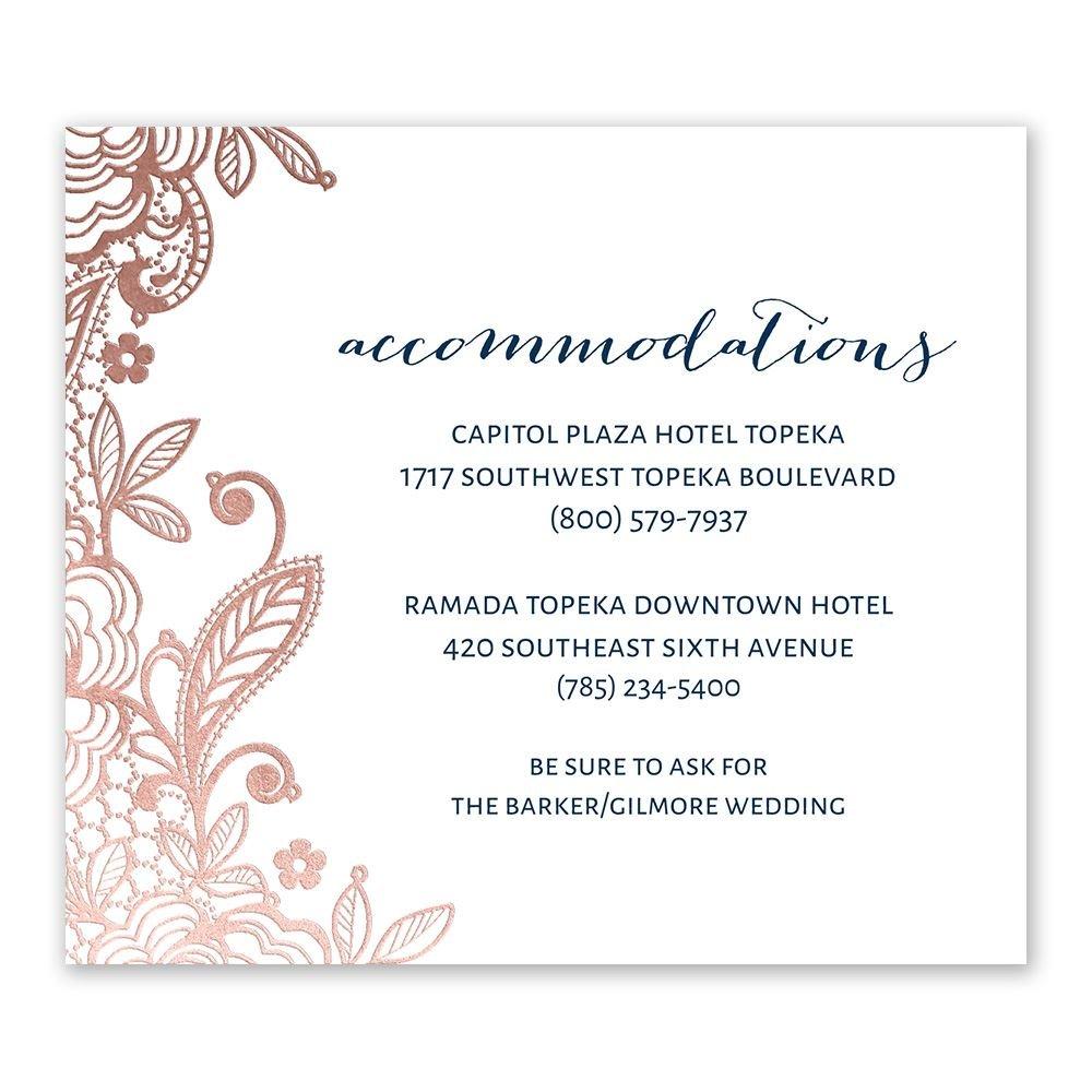Wedding Invitation Information Card: Glamorous Lace Foil Information Card