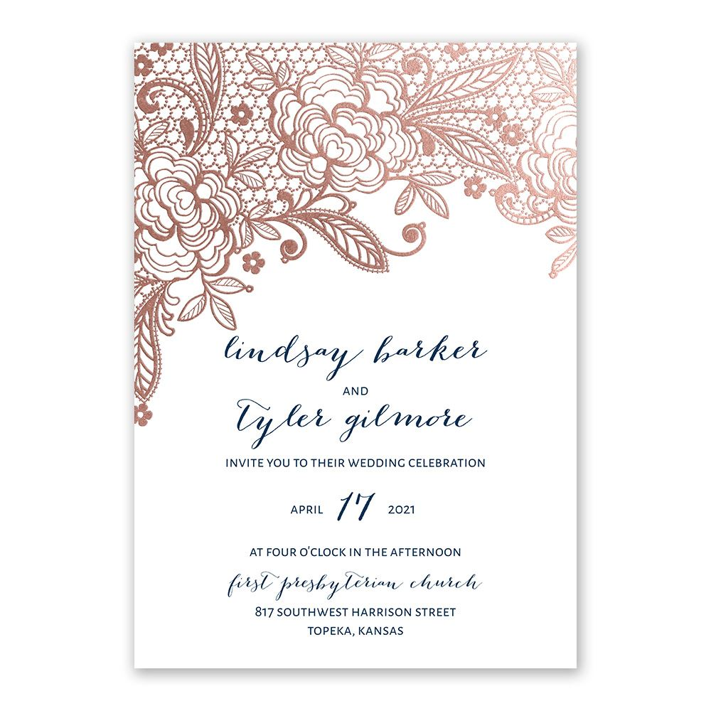 glamorous lace rose gold foil invitation - Rose Gold Wedding Invitations
