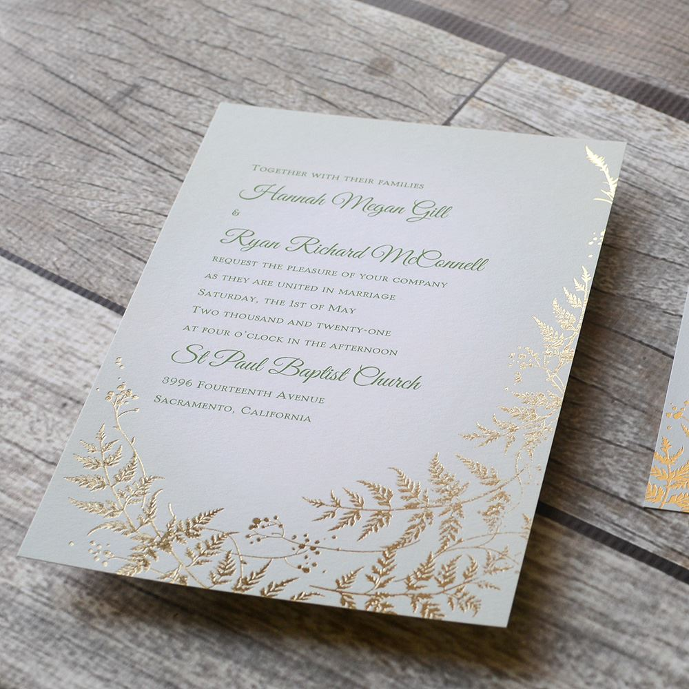 woodland sparkle foil invitation