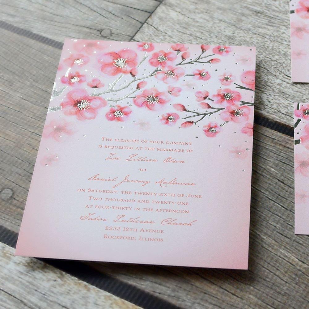Cherry Blossoms Foil Invitation | Invitations By Dawn