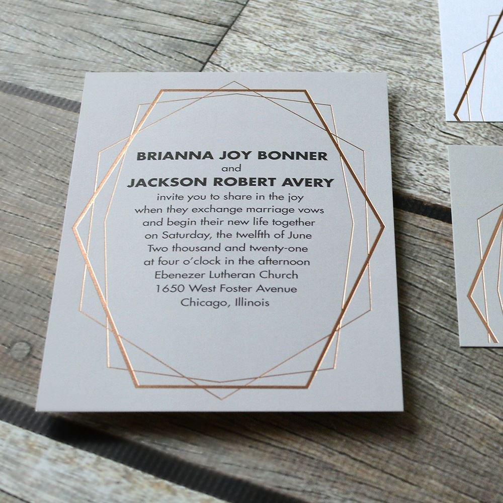 Mid Century Romance Save The Date Cards: MidCentury Metallic Foil Invitation