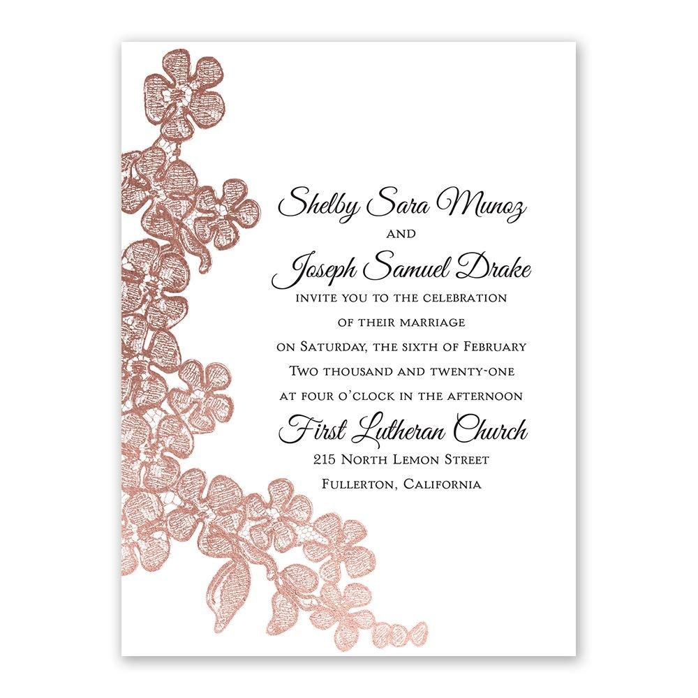 rose gold blossoms petite invitation