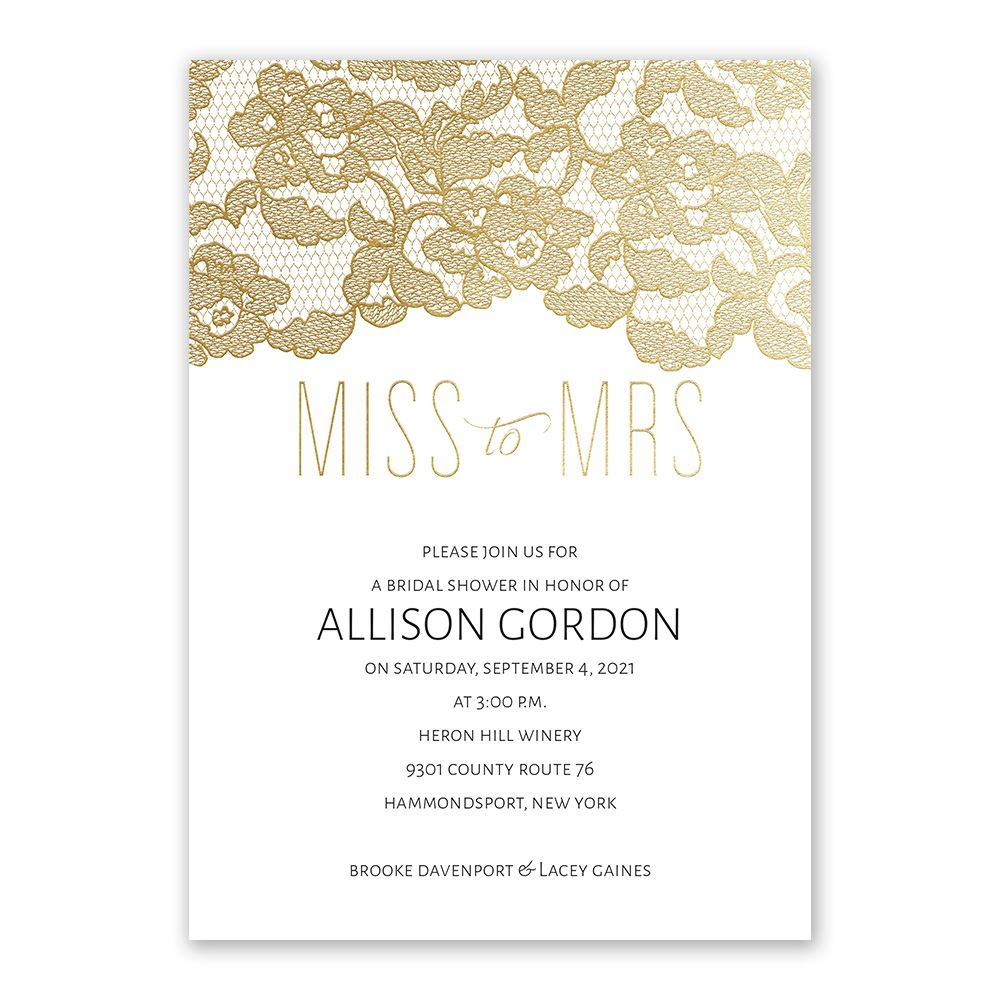 Miss To Mrs.   Gold Foil   Bridal Shower Invitation