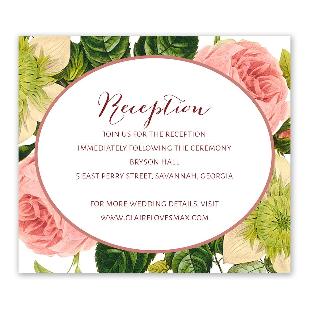 Framed in Flowers Information Card | Invitations By Dawn