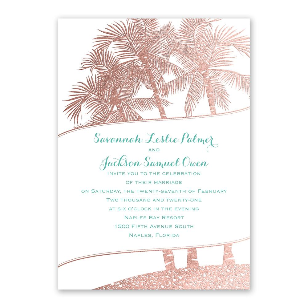 gold wedding invitations malibu i do foil invitation - Rose Gold Wedding Invitations